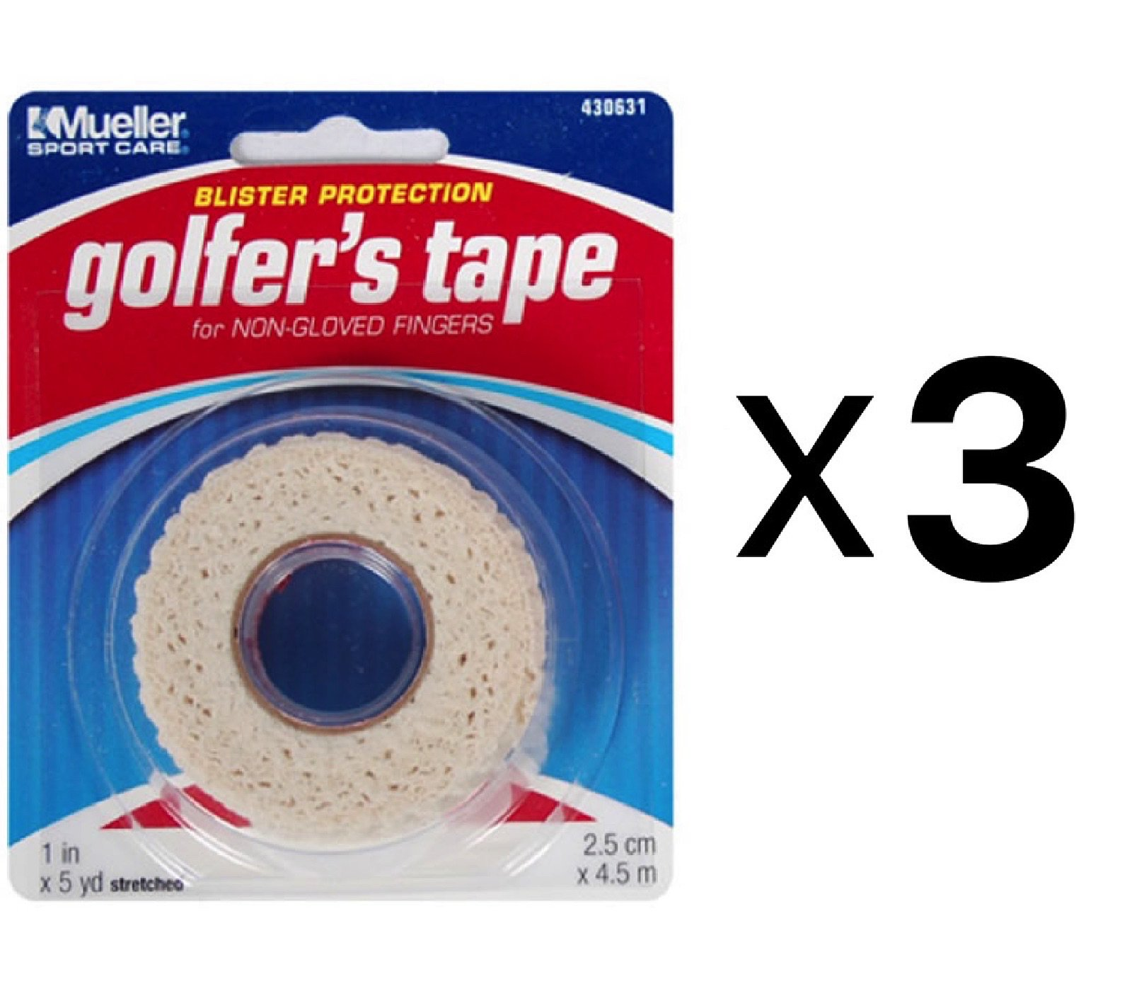 Mueller Golfer's Conforming Elastic Protective Finger Grip Tape 1''x5yd (3-Pack)