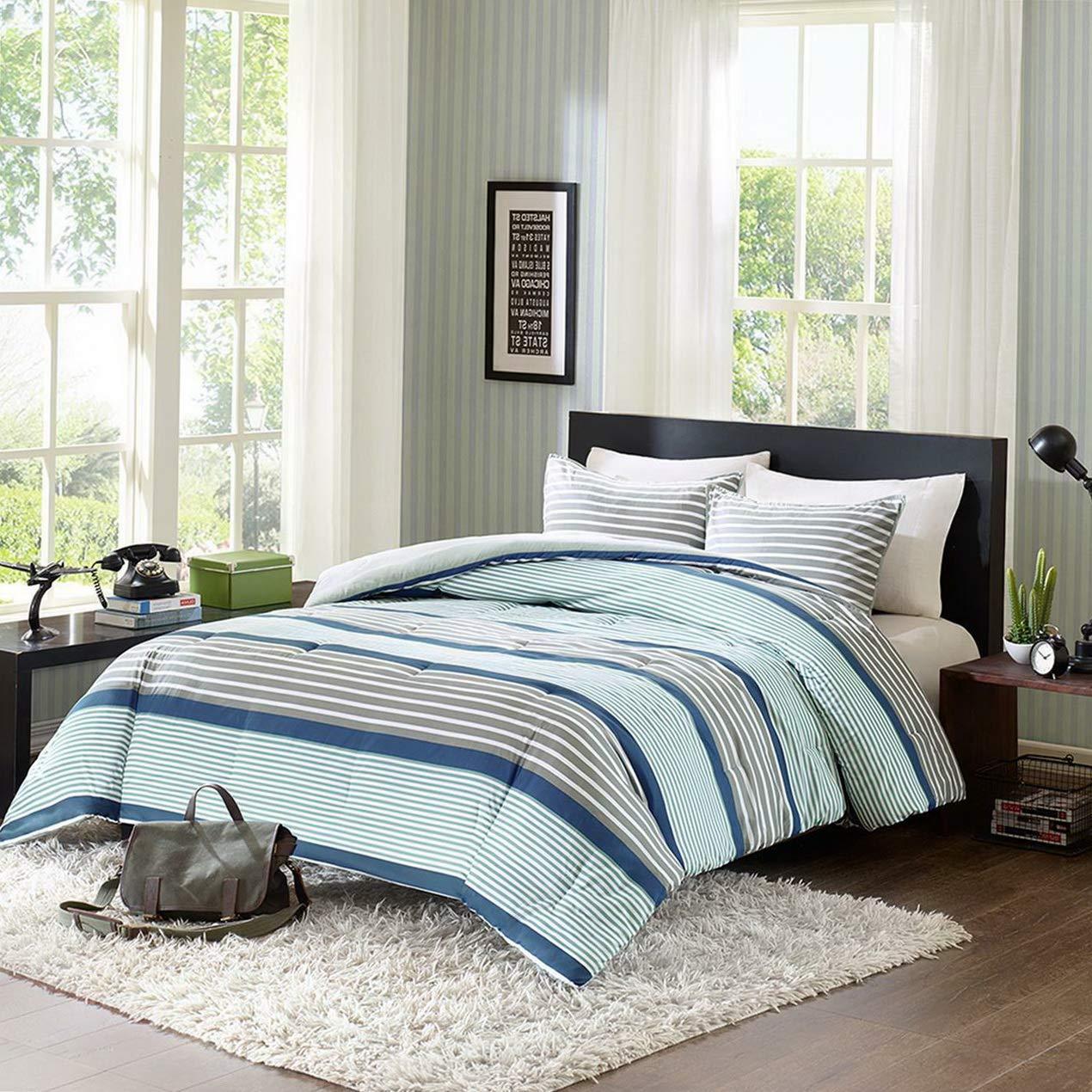 Kaputar Beautiful Reversible Modern Blue Navy Grey Stripe Soft Comforter Set   Model CMFRTRSTS - 2157   Queen