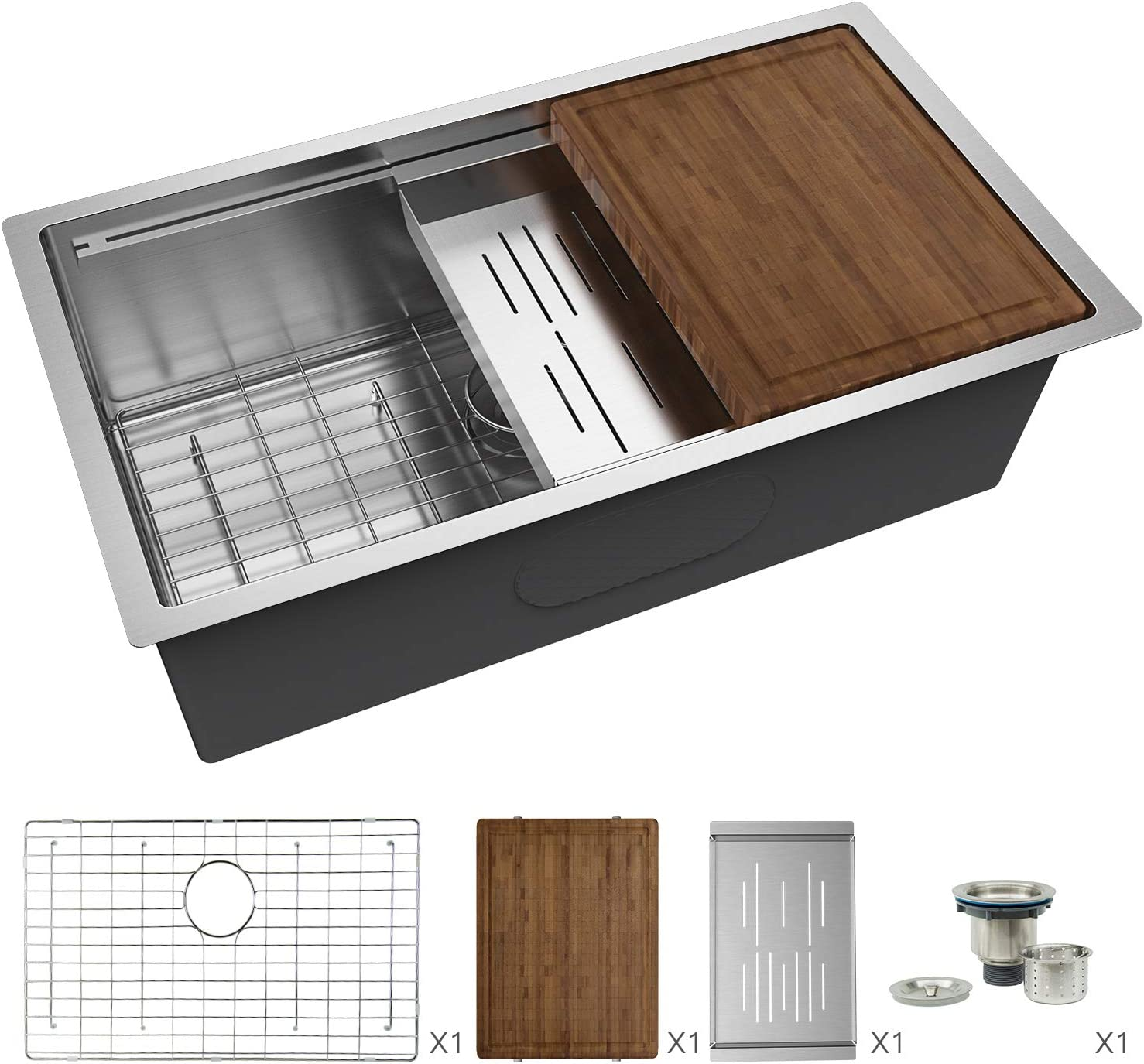 16 Gauge Stainless Steel Single Bowl with Stainless-steel Bamboo Cutting Board and Drain Tray TORVA 24-Inch Workstation Undermount Kitchen Sink 24 x 19 x 10 inches