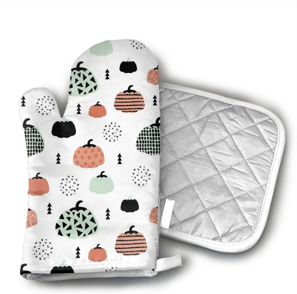 Fall Fruit Geometric Pumpkin Halloween Coral Mint Orange Kitchen Oven Mitts Oven Gloves with Cotton Lining for BBQ Cooking Set Baking Grilling Barbecue Microwave Machine