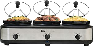 Elite Platinum EWMST-325 Maxi-Matic Triple Slow Cooker Buffet Server Adjustable Temp Dishwasher-Safe Oval Ceramic Pots, Lid Rests, 3 x 2.5Qt Capacity, Stainless Steel, Black/Silver
