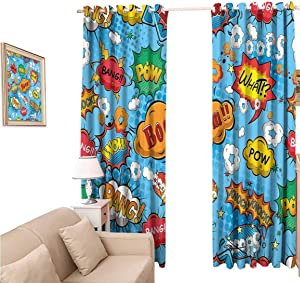 oobon Decorative Blackout Curtains, Superhero Famous Comic Strip Speech Balloons Icon Chat Scream Magazine Signs Pop Graphic, Curtain Panels for Living Room, 96x84 inch