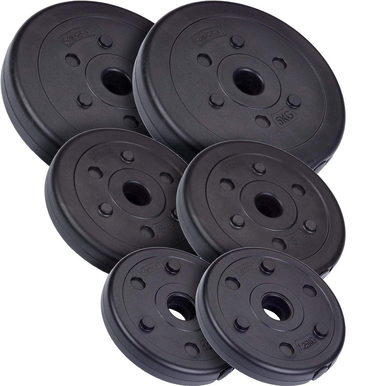 ScSPORTS 18,5 kg Hantelscheiben-Set Kunststoff 2x5 2x3 2x1,25 kg Gewichte 30//31 mm Bohrung