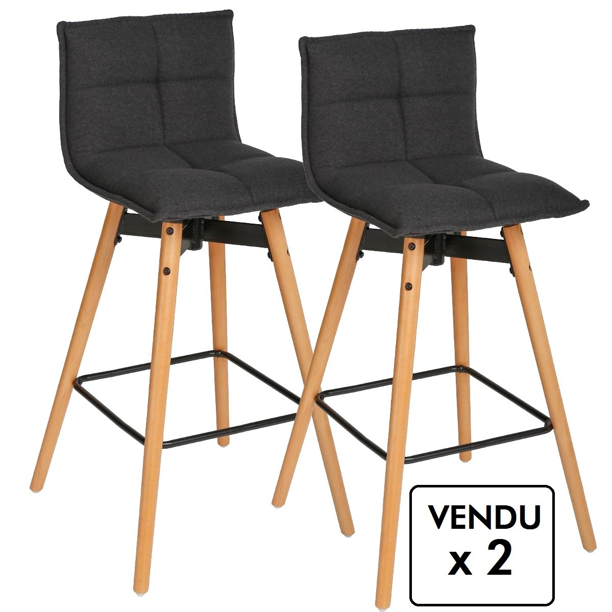Lot de 2 tabourets de bar - Style design - Coloris GRIS Anthracite