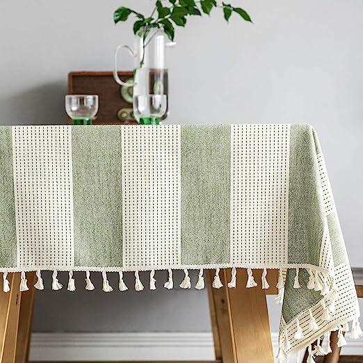 Plenmor - Mantel de algodón y lino para mesa rectangular con borla ...