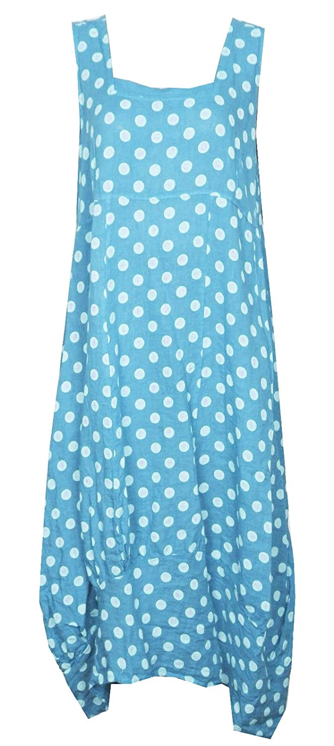 961f42fcfc Gracious Girl Women Italian Lagenlook Quirky Balloon Shaped Boho Tulip Linen  Square Necked Sleeveless Polka Dot Dress Light Turquoise One Size 10-16  ...