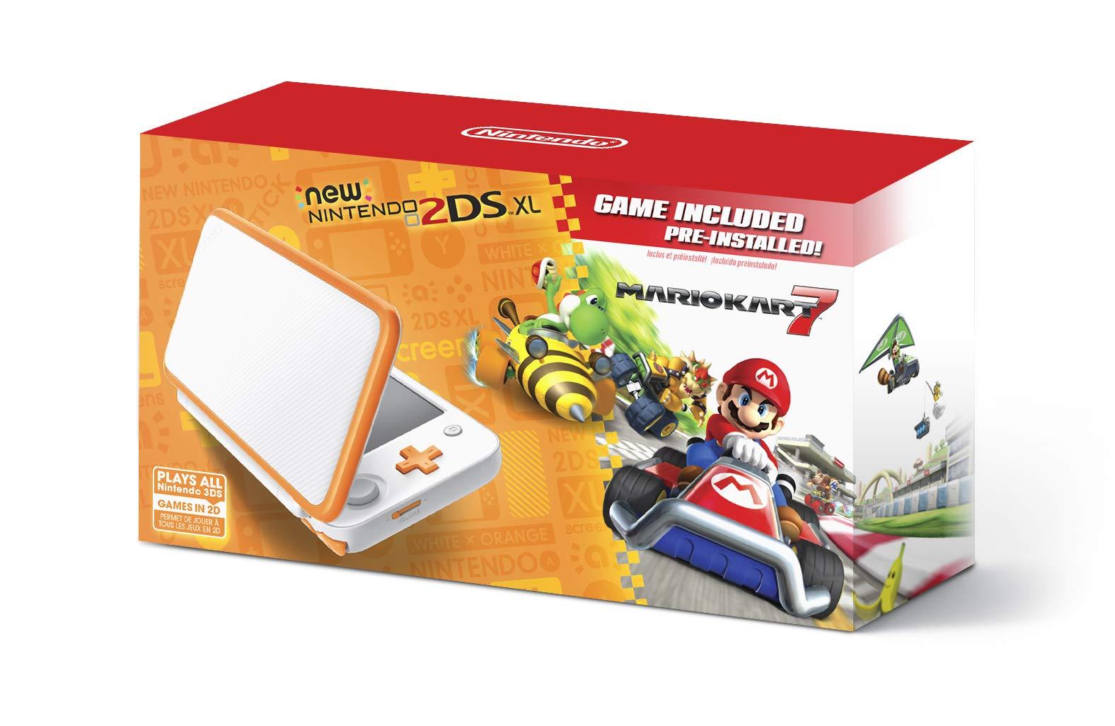 New Nintendo 2DS XL Handheld Game Console - Orange + White With Mario Kart 7 Pre-installed - Nintendo 2DS