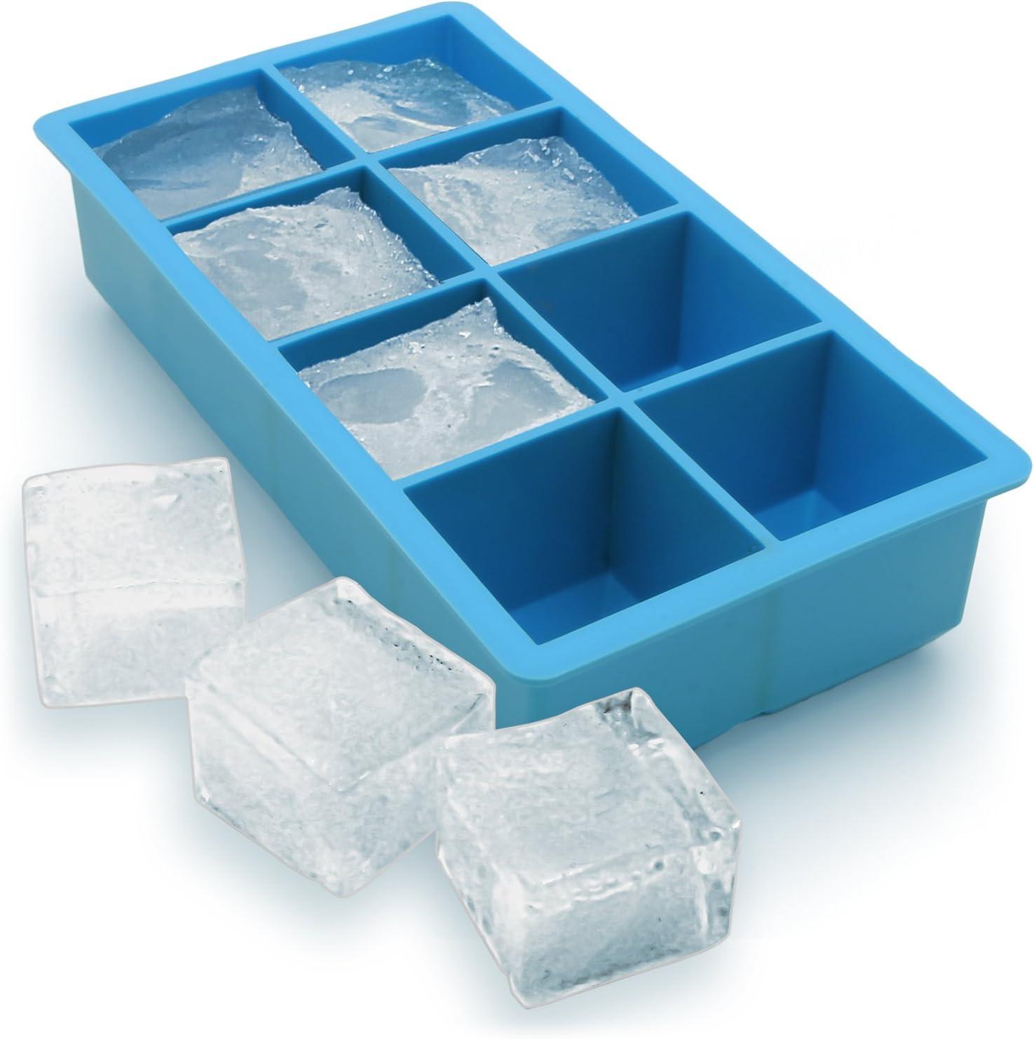 iGadgitz Home Silicone Ice Cube Tray 8 Extra Large Square Food Grade Jumbo Ice  Cube Moulds: Amazon.co.uk: Sports & Outdoors