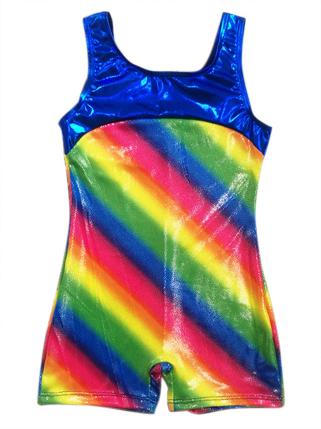 Girls' Team Basic Sleeveless Leotard Spandex Dancewear Ballet Outfit Active Gymnatsics Leoatrds - 3-4Y - Rainbow Happy Cherry