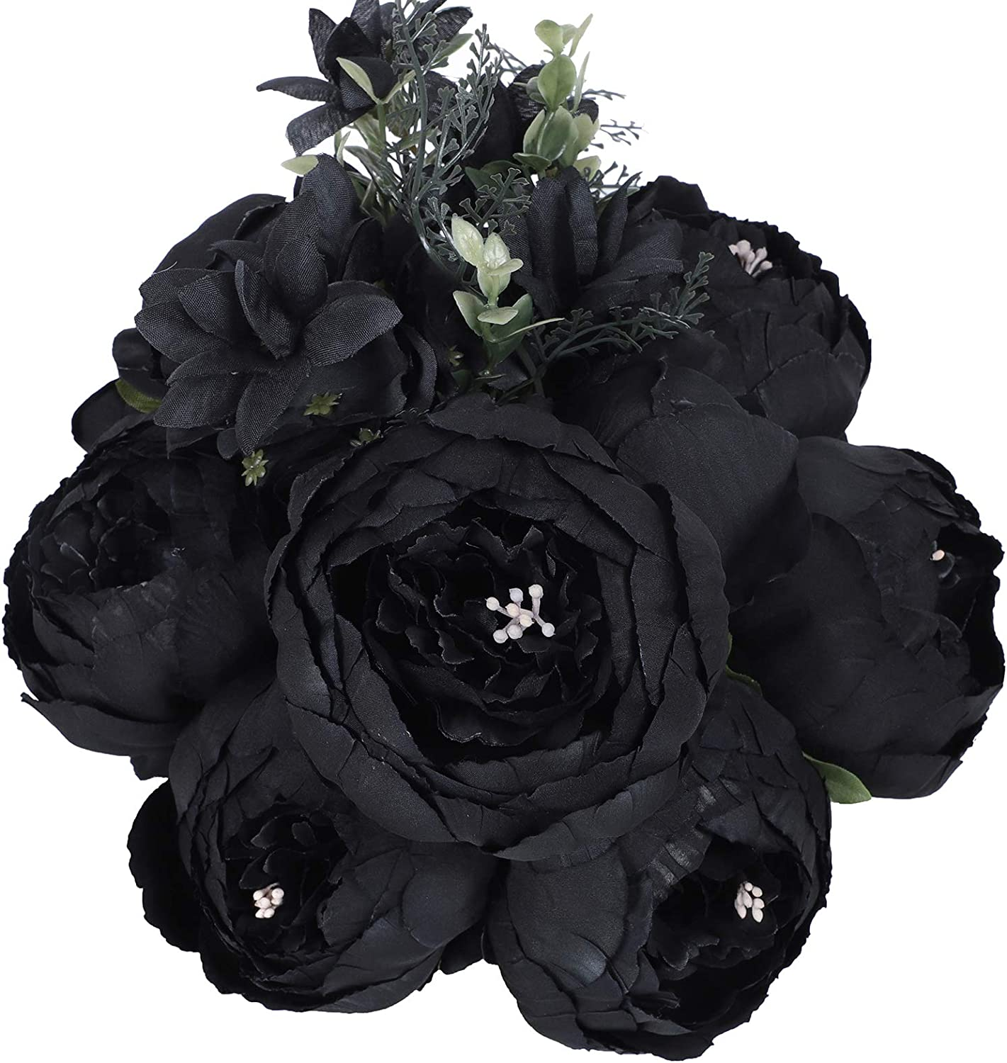 JyiHope Artificial Peony Silk Flowers Fake Peonies Vintage Bouquet Home Table Centerpieces Wedding Decoration (Black)
