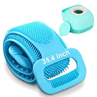 """Back Scrubber for Shower,Silicon Body Shower Scrubber, Handle Body Washer 2021 Updated 35.4""""Silicone Bath Body Brush,Easy to Clean Washer Exfoliating More Hygienic (Blue)"""