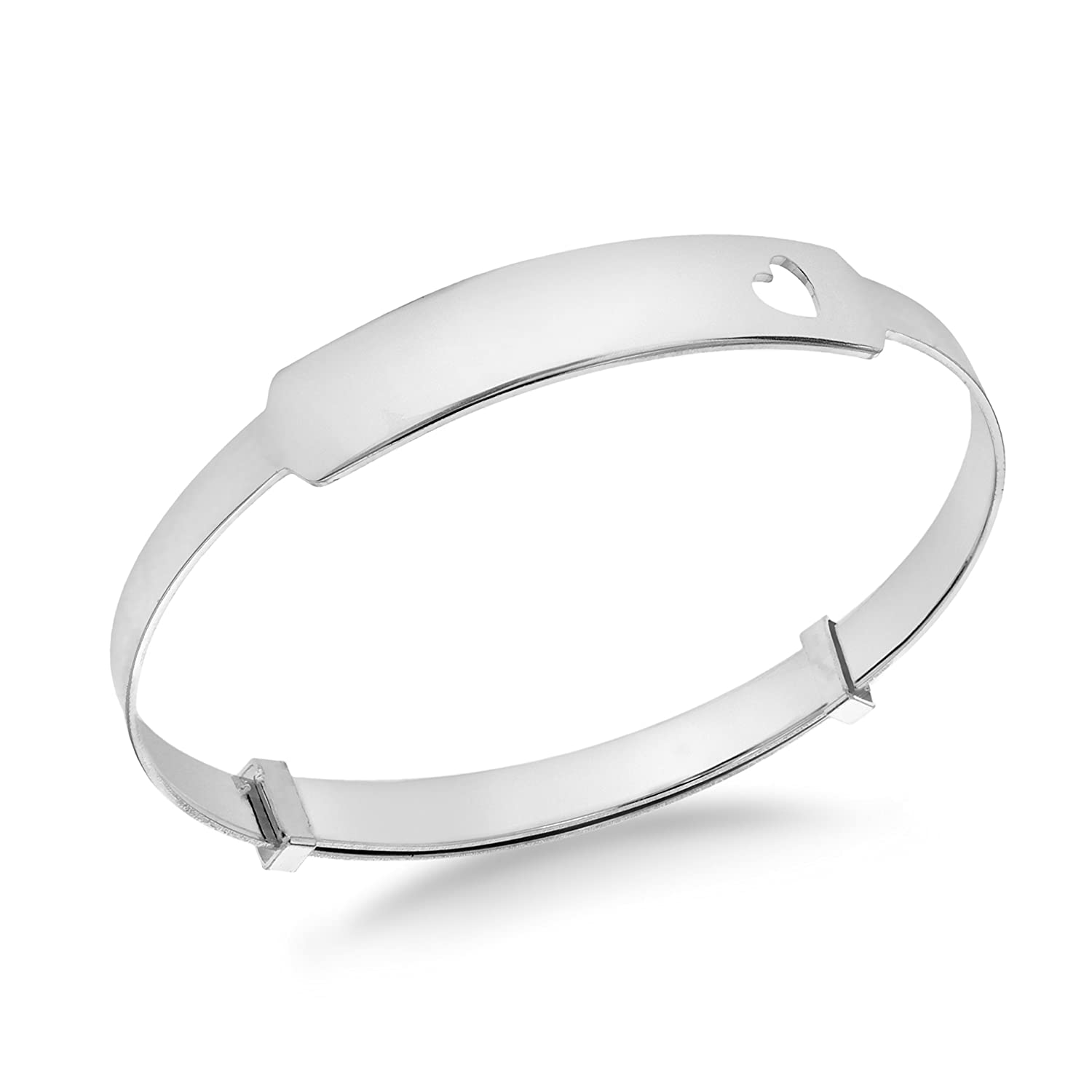 Tuscany Silver Sterling Silver Heart ID Extendable Baby Bangle 8.36.0414