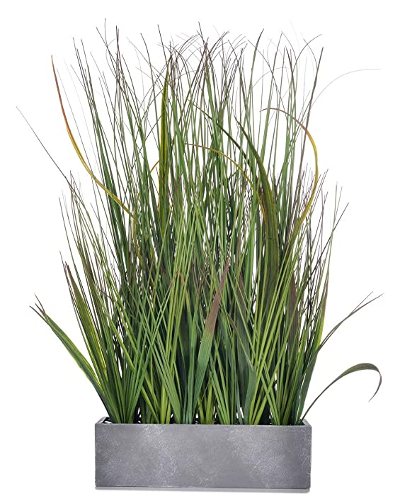 AlphaAcc 20 inch Green PVC Grass Plant in Pot Realistic Looking Fake Sea Grass for Home Office Decor