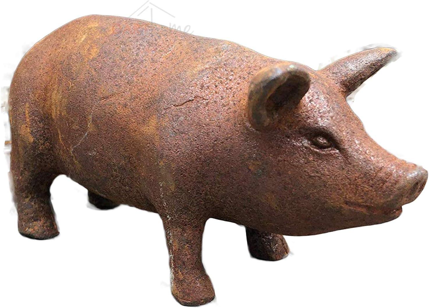 Cast Iron Pig Garden Statue