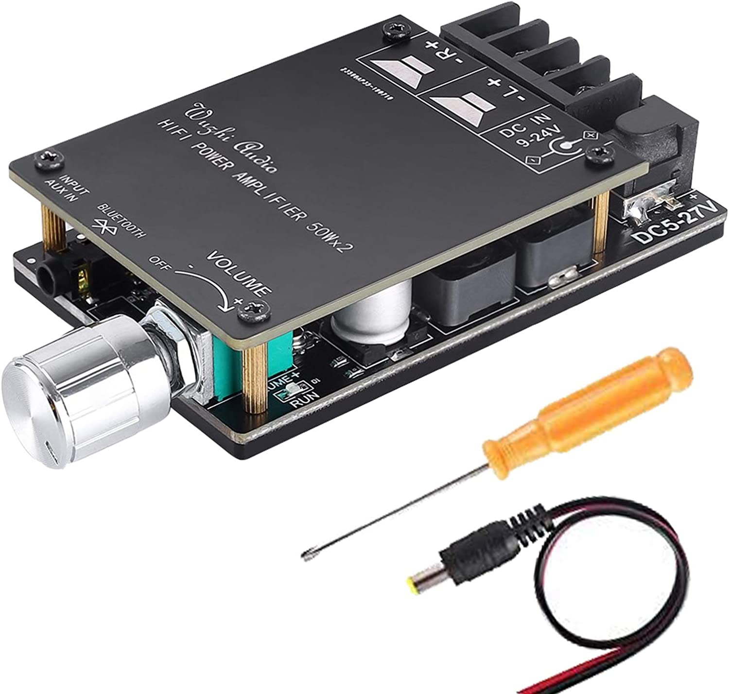 Amazon Com 100w Bluetooth Amplifier Board Tpa3116 Yemiugo 50w 50w Digital Stereo Aux Audio Amp Board Dual Channel Dc 5v 27v Lc Filter Technique Password Free Connection Home Audio Theater
