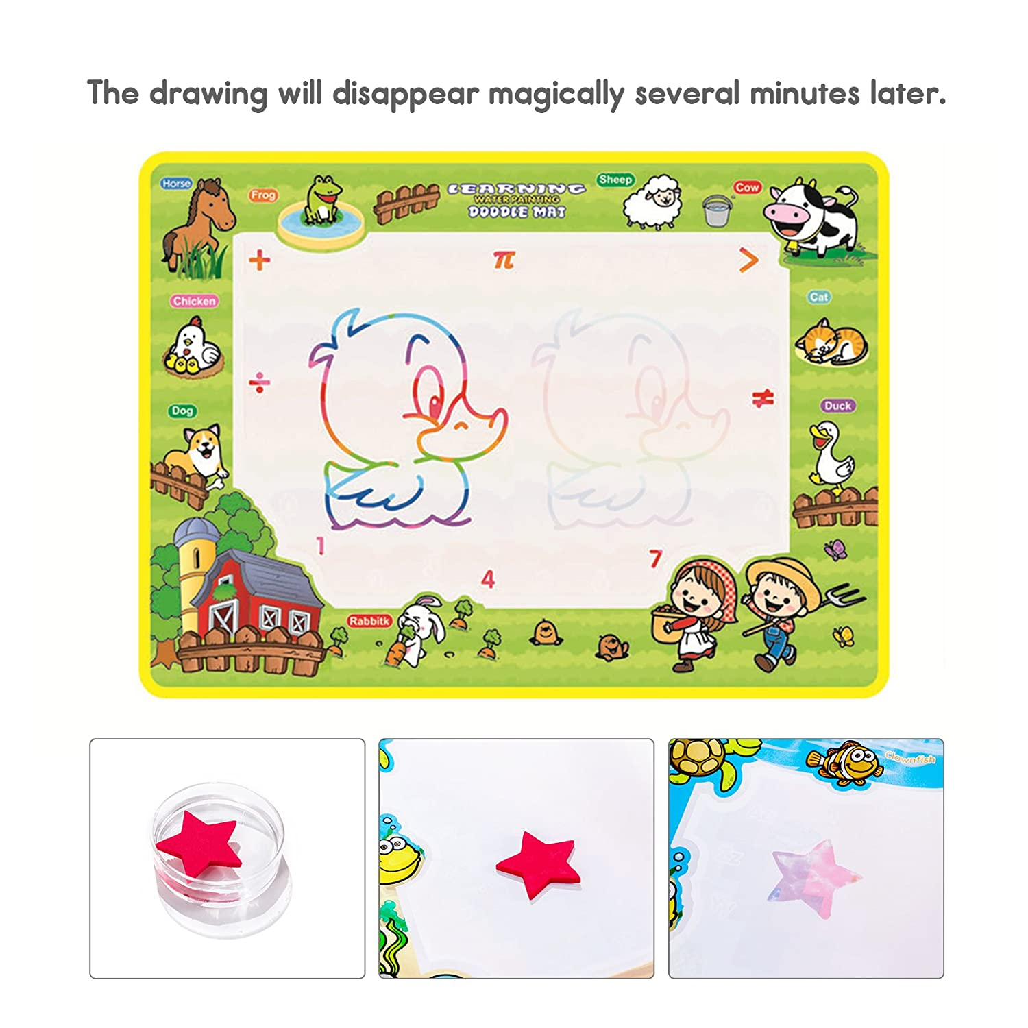 GOYIKI Portable Aquadoodle Drawing Mat 19.68 X 14.17 Inch Rainbow Color Magic Toddlers Painting Board Writing Mats with 3 Water Pens and 9 Molds Writing Learning Educational Toys for Boys Girls
