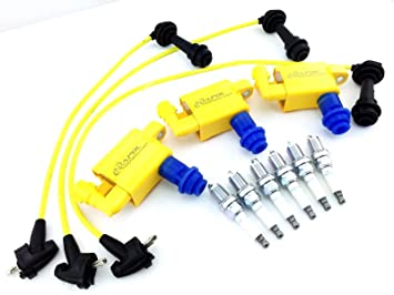 3 Pack Ignition Coils & Plugs Wires / 6 Spark Plugs Is300 Sc300 Vvti Supra  Aristo