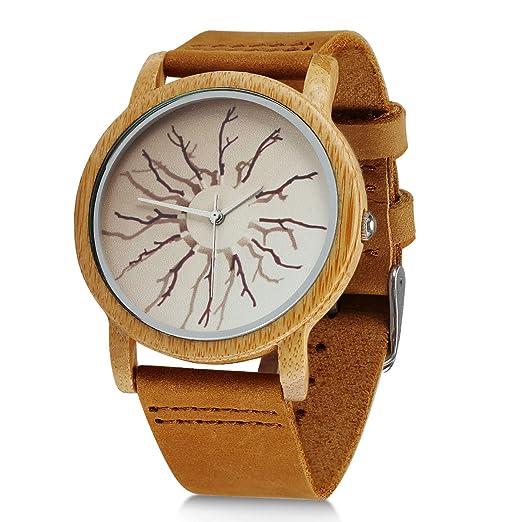 Reloj de pulsera para hombre, de madera, hecho a mano, analógico, de cuarzo, ligero, vintage, casual, de bambú: Amazon.es: Relojes