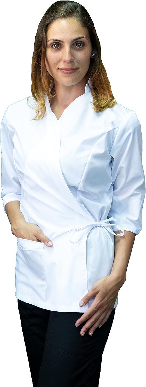 Spa Bianco con Collo Coreana per Estetista strutture Benessere Kimono Donna Made in Italy tessile astorino Ricamo Gratuito parrucchiera