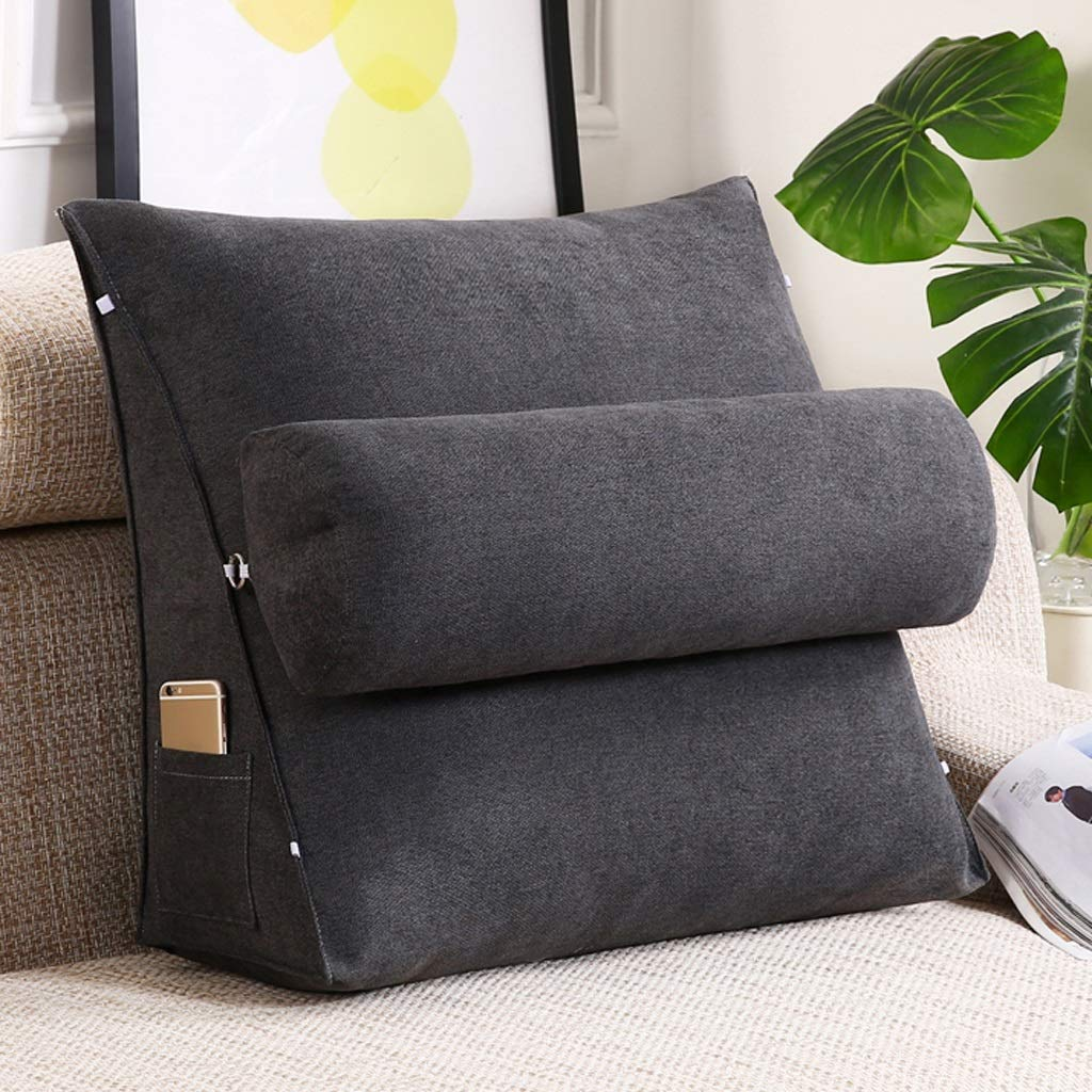 Lil with Headrest Sofa Waist Belt Triangle Cushion, Bed Head Large Office Backrest, Protection Neck Pillow,Removable Washable (Color : Dark Gray, Size : 454520cm)