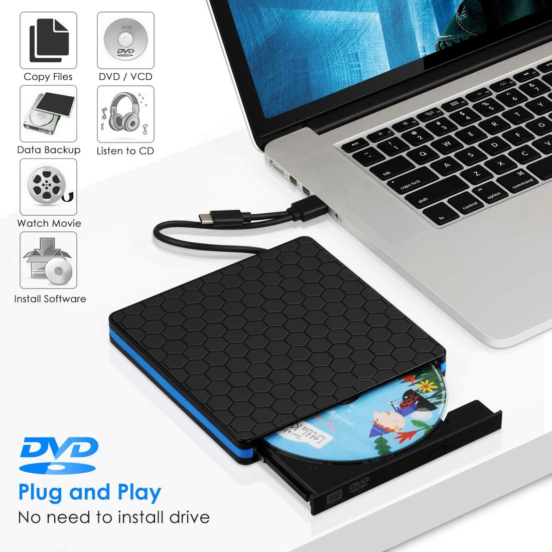 Superpow Grabadora CD/DVD Externa USB 3.0 con Interfaz Tipo-C, Lector Reproductor CD/DVD Externo para Windows XP/7/8/10/Vista/Linux/MacBook/Mac OS (Negro): ...