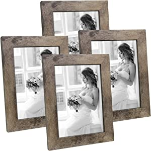 Hap Tim 5x7 Picture Frame Carbonized Black Wooden Photo Frames for Tabletop Display and Wall Decoration, Set of 4 (CWH-5x7-CB)