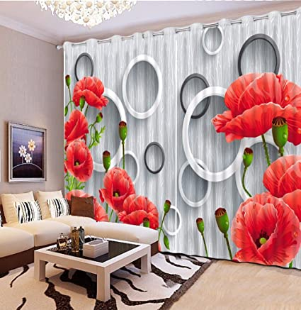 Amazon Com Sproud Modern Living Room Bedroom 3d Curtains Red Flower