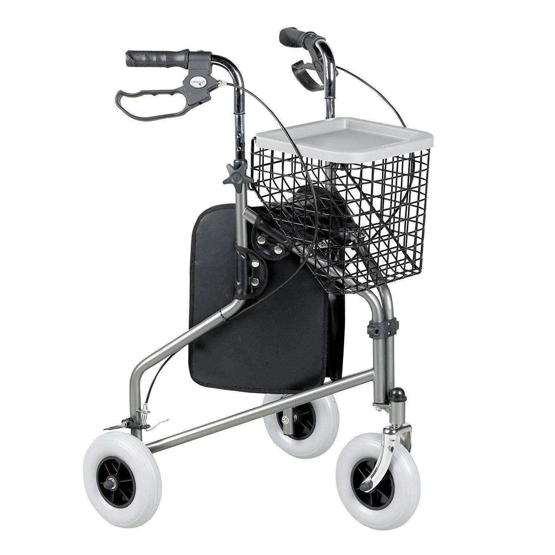 Homecraft - Andador con 3 ruedas y frenos, color negro