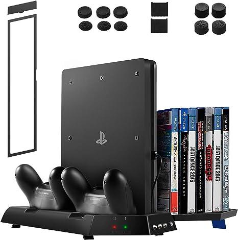 innoAura Stand Vertical 3 en uno para PS4 / PS4 Slim / PS4 Pro con ...