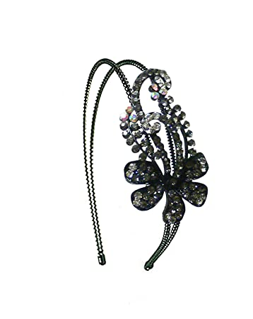 Amazon.com   Crystal Flower Headband Designed with Shades of Black Diamond  and Crystal Clear Sparkling Stones U86121-0057blkdia-crystal   Fashion  Headbands ... 8906da9cb26