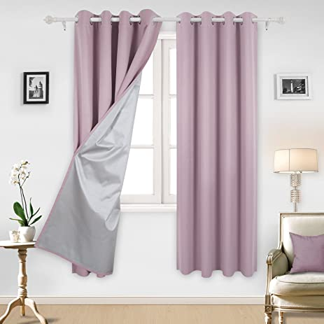 Deconovo Blackout Curtains Room Darkening Blackout Curtains With Silver  Coating For Nursery 52 By 84 Inch