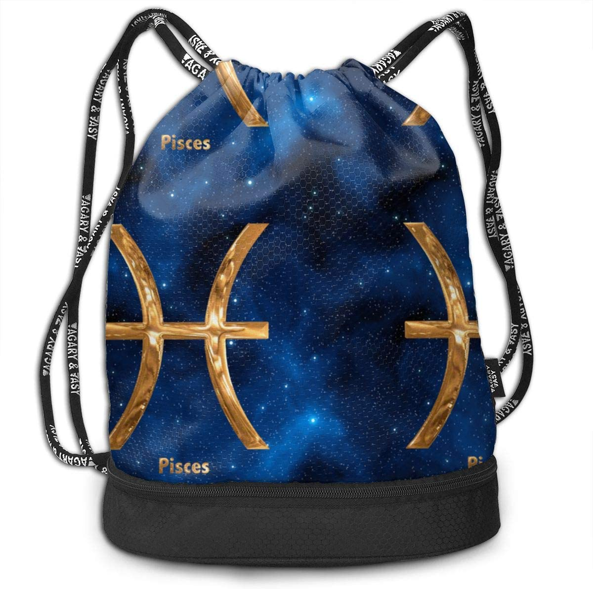 Pisces Zodiac Sign Drawstring Backpack Sports Athletic Gym Cinch Sack String Storage Bags for Hiking Travel Beach