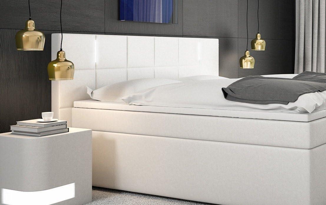 SAM® Cama boxspring Sapri 180x200 cm con LED, Blanco, Base con resortes Bonnell, colchón con muelles embolsados 7 Zonas H3, Topper de Espuma ...