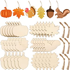 60 Pieces Thanksgiving Unfinished Wooden Ornaments Maple Leaves Pumpkin Wood Cutout Squirrel Acorn Blank Wooden Ornament for Thanksgiving Fall Party DIY Decor Supplies, 6 Styles