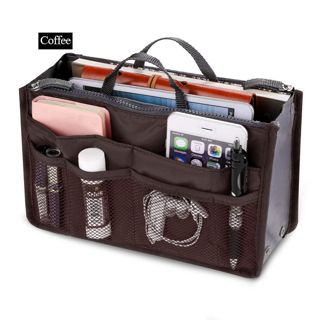 Fashion Women Multifunction Travel Cosmetic Makeup Insert Pouch Toiletry Organizer Handbag Storage Pur Closet Systems (Coffee)