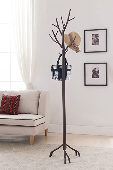 Amazon.com: Kings Brand Bronze   Finish Metal Hall Tree Coat U0026 Hat Rack  With Branches: Kitchen U0026 Dining
