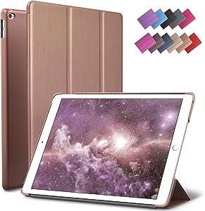 iPad Mini 4 case, ROARTZ Rose Gold Slim Fit Smart Rubber Coated Folio Case Hard Cover Light-Weight Auto Wake/Sleep for Apple iPad Mini 4th Generation Model A1538/A1550 Retina Display