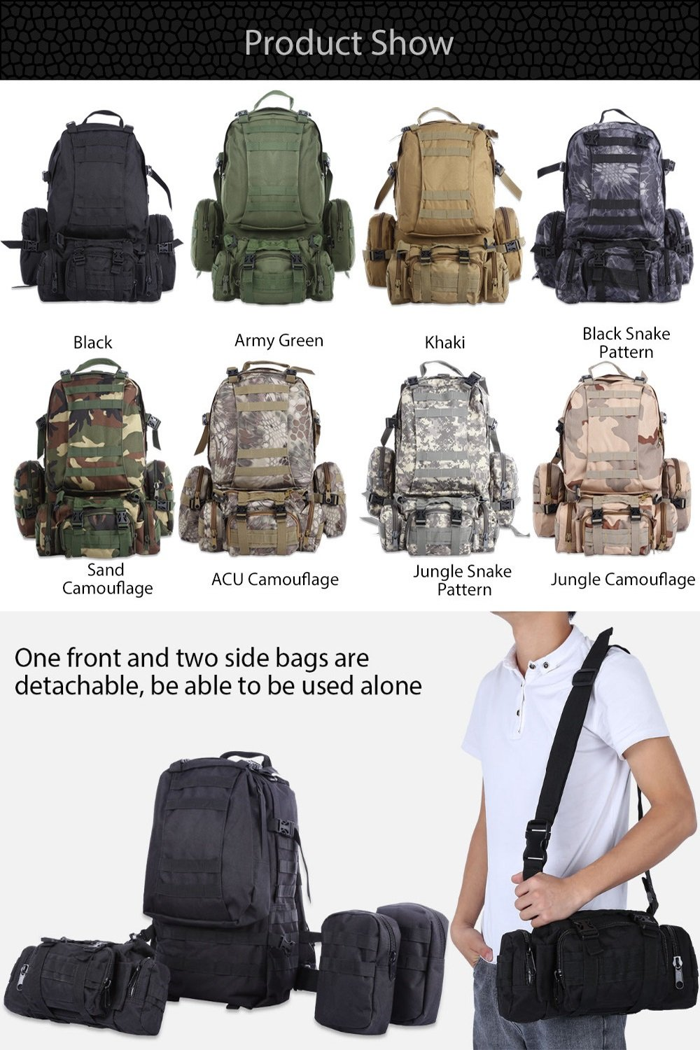 Oxford cloth waterproof backpack camouflage travel fishing backpack mountaineering combination backpack Outdoor large capacity camping travel bag