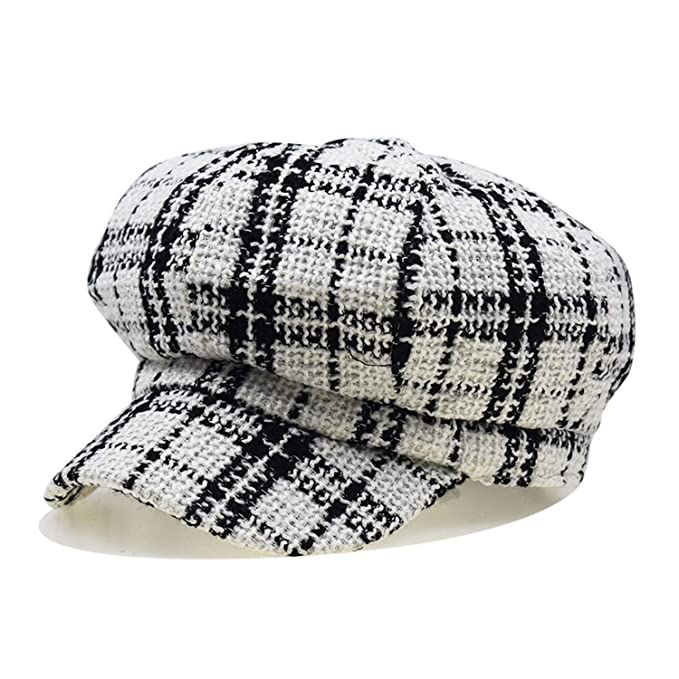 Winter Women Newboys Hat Cap Plaid Vintage Painter Octagonal Cap for Casual Warm Cotton Gorras Planas Flat White at Amazon Womens Clothing store: