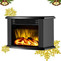 shrevi Artificial Fireplace Realistic Log Wood Burning Flame Simulation Effect Portable Tabletop Light for Decoration Air Warmer Household Handy Fan EU Plug with Remote Control Black ABS (1 pcs)