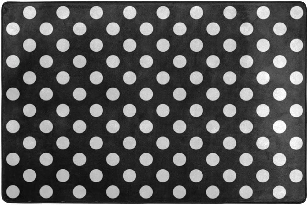 TSWEETHOME Doormat Area Rugs Outdoor Inside Mats Personalized Welcome Mats with Black White Polka Dots for Chair Mat and Decorative Floor Mat for Office and Home (36 x 24 in & 72 x 48 in)