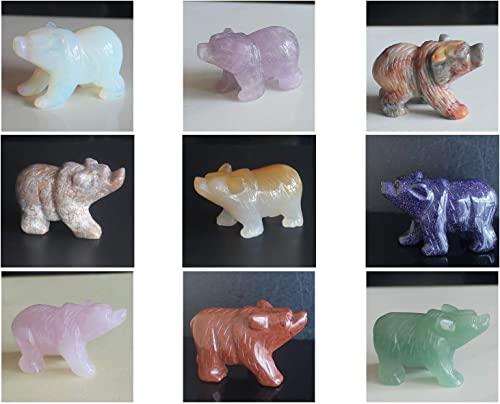2 Hand Carved Mixed gemstom Bear Figurine Animal Carving 9pcs Mixed Stone