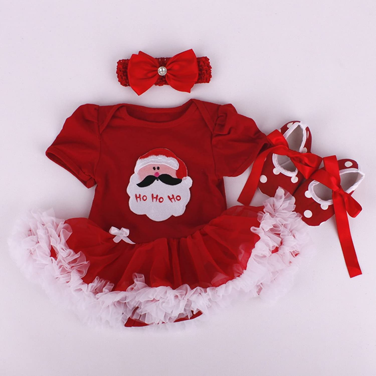 Marlegard Baby Girls 3PCs Red Christmas Tutu Dress with Headband