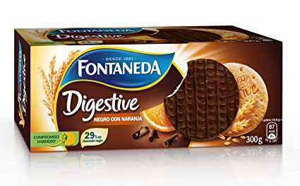 Fontaneda Digestive Galletas Negras con Naranja - 300 gr