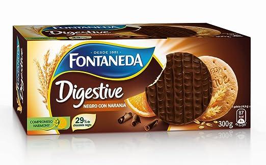 Fontaneda - Digestive - Galletas negras con naranja - 300 g - [pack de 3