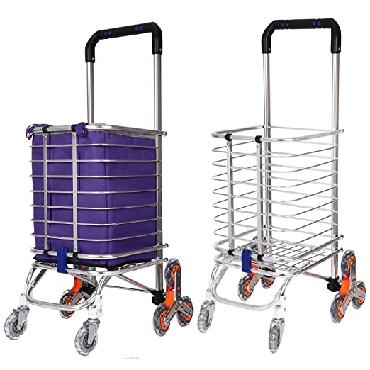 Amazon.com : Folding Shopping Cart, Portable Stair Climbing Utility Cart with Swivel Wheel and Waterproof Canvas Bag, 177 pounds Capacity (Purple) : Office ...