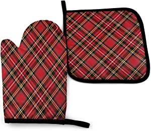 Foruidea Vintage Scottish Tartan Pattern Striped Checkered Geometric Oven Mitts and Pot Holders Sets Kitchen Heat Resistant Oven Gloves for BBQ Cooking Baking Grilling Machine Washable (2-Piece Sets)
