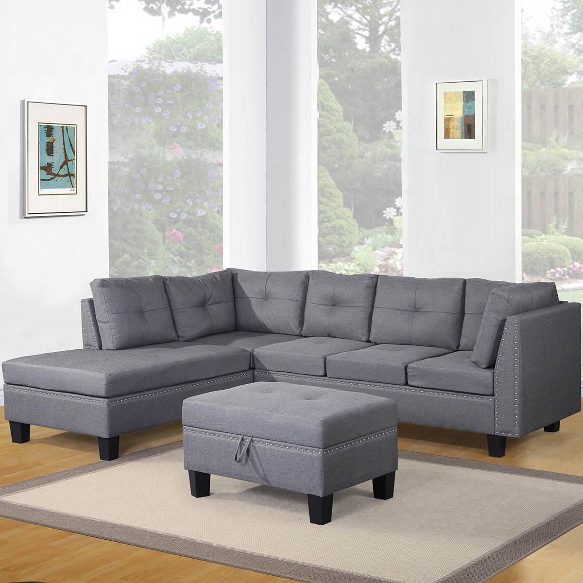 Amazon.com: Harper & Bright Designs Contemporary 3 Piece Sectional Sofa Set  with Ottoman and Chaise Lounge Grey Linen Fabric (Grey): Pet Supplies