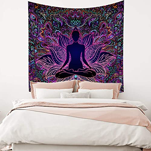 Leowefowas Chakra Yoga Meditation Lotus Tapestry Psychedelic Wall Hanging Home Decoration Wall Art Blanket Wall Tapestry for Living Room Bedroom 70.9 x70.9