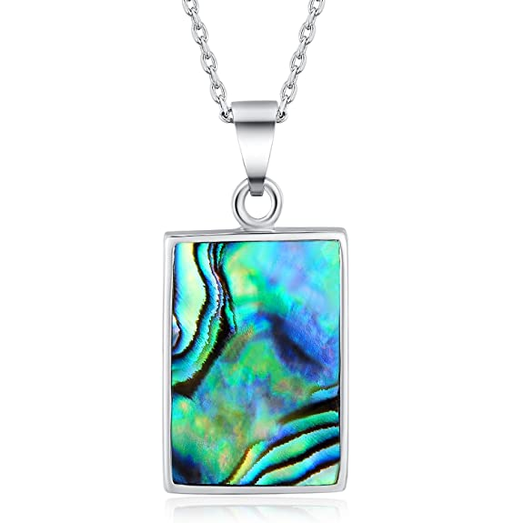 WISHMISS Fashion Mother's Day Gift Necklace Dean Pendant Necklace In Abalone Shell with Blue Jewelry Box